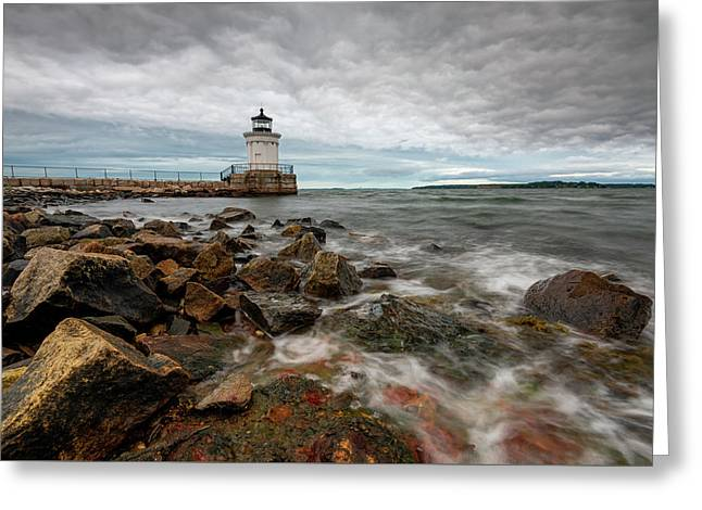 Summer Tides At Bug Light Greeting Card