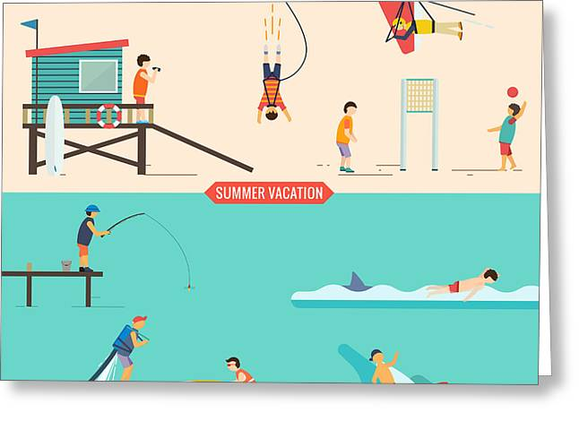 Summer Vacation People Set Greeting Card