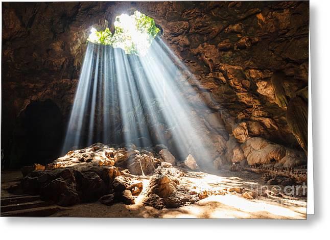 Sun Beam In Cave Greeting Card