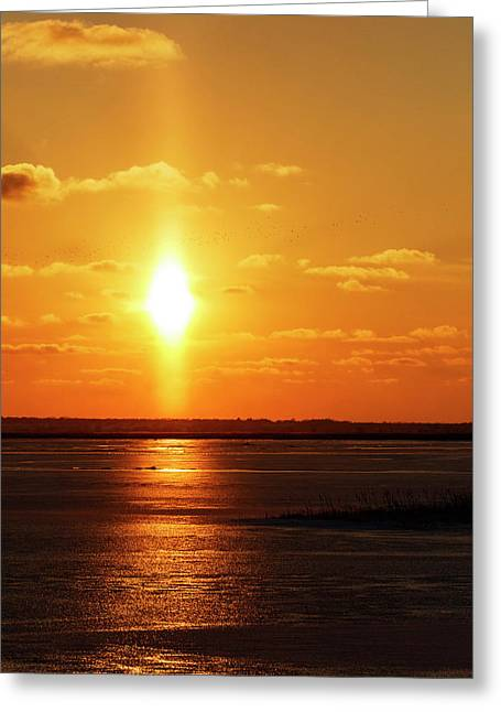 Greeting Card featuring the photograph Sun Pillar 01 by Rob Graham