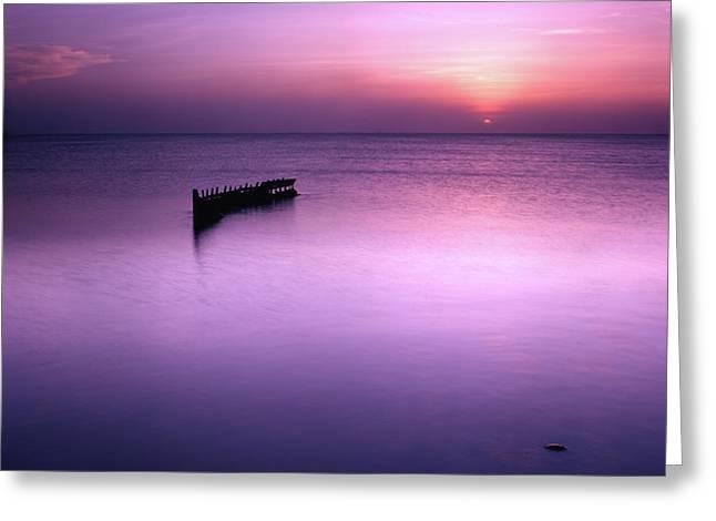 Sun Sets On A Sunken Boat Greeting Card