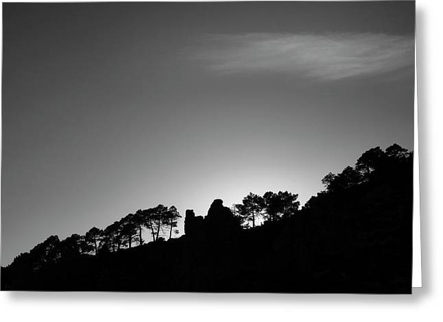 Sun Through The Mountains And Trees. At Sunset Greeting Card
