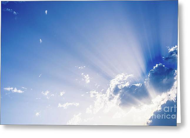 Sunbeams Rising From A Large Cloud In Intense Blue Sky On A Summer Afternoon Greeting Card