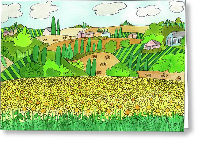 Sunflower French Countryside Greeting Card