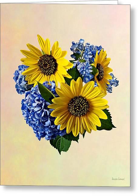 Sunflowers And Hydrangeas Greeting Card by Susan Savad