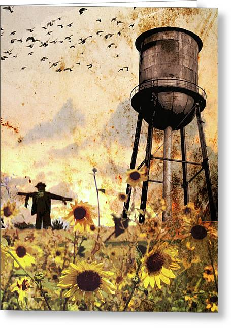 Sunflowers At Dusk Greeting Card