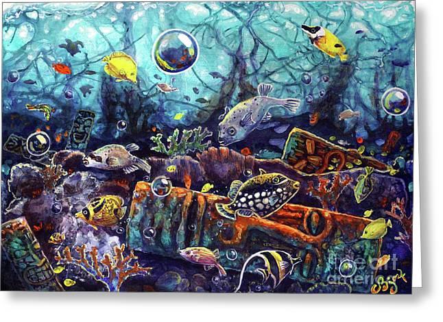 Sunken Tiki Reef Greeting Card
