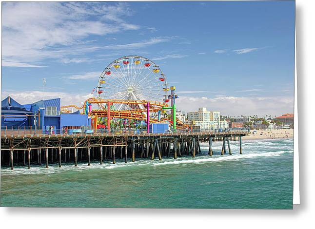 Sunny Day On The Santa Monica Pier Greeting Card
