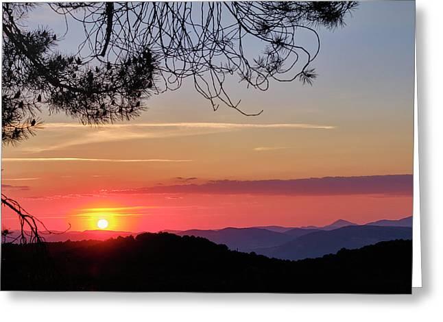 Sunrays Through The Misty Mountains. Sierra De Huetor Greeting Card