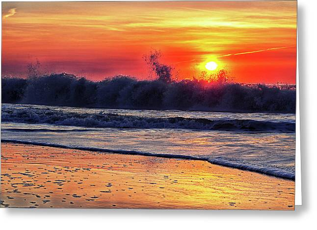 Greeting Card featuring the photograph Sunrise At 142nd Street Beach Ocean City by Bill Swartwout Fine Art Photography
