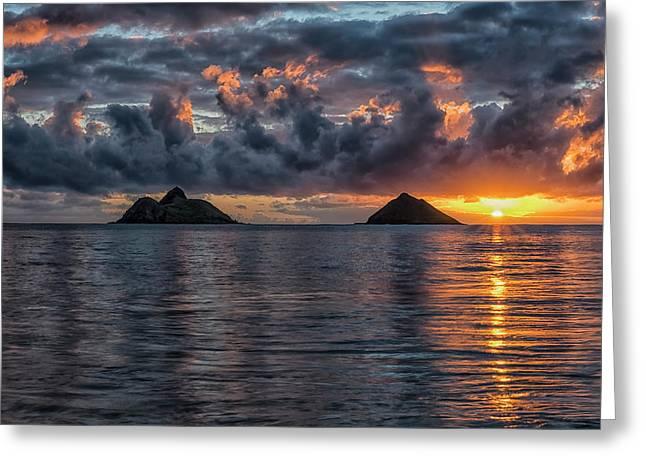 Sunrise At Lanikai Beach  Oahu, Hawaii Greeting Card