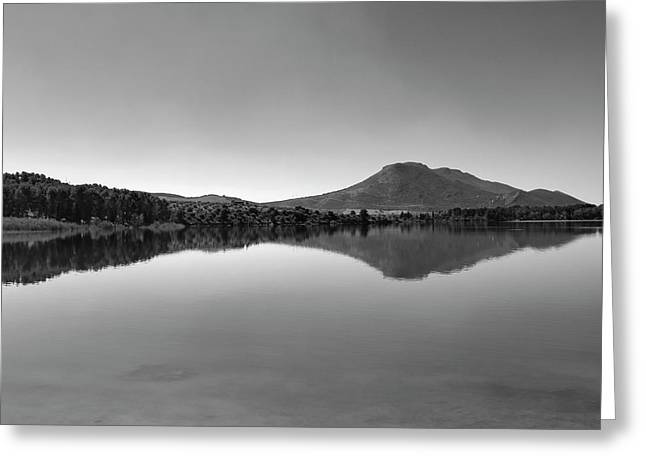 Sunrise At The Lake. Square.bw Greeting Card