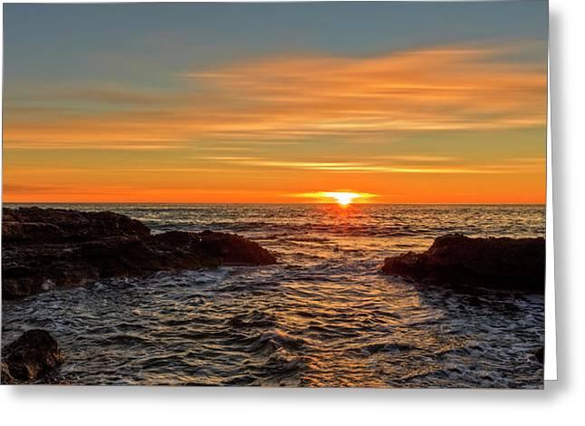 Sunrise By The Mediterranean Sea In Oropesa, Castellon Greeting Card