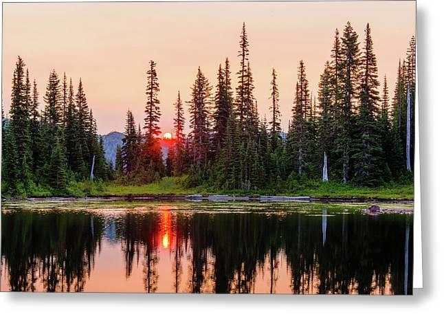 Sunrise From The Reflection Lake Greeting Card