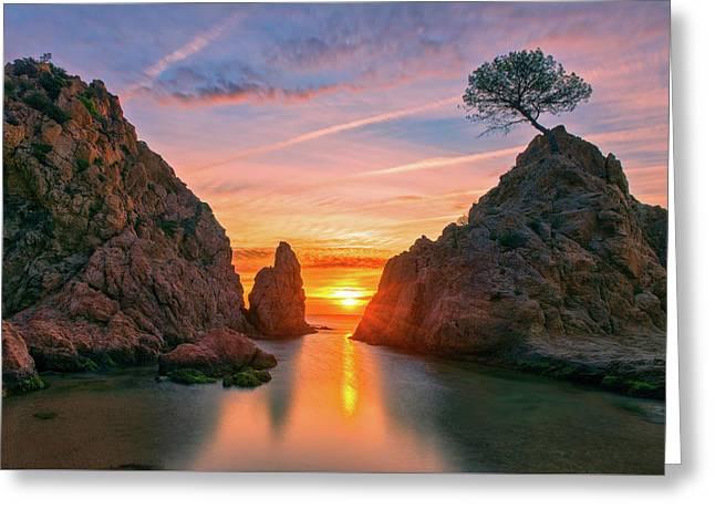 Sunrise In The Village Of Tossa De Mar, Costa Brava Greeting Card