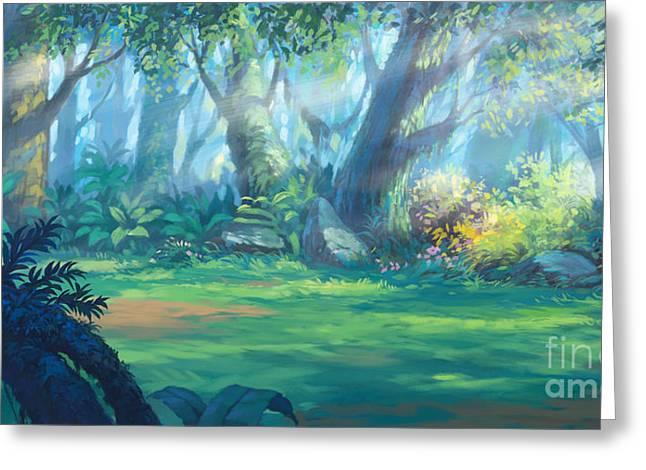 Sunrise Morning Inside Fantasy Forest Greeting Card