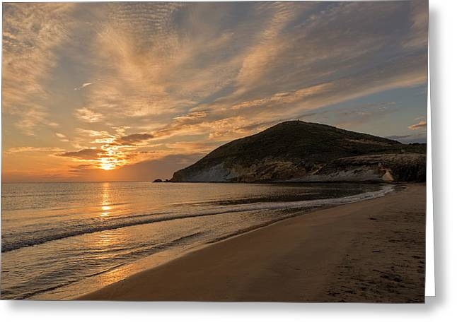 Sunrise On The Beach Of The Genoveses Of Cabo De Gata Greeting Card