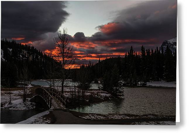 Sunrise Over Cascade Ponds, Banff National Park, Alberta, Canada Greeting Card