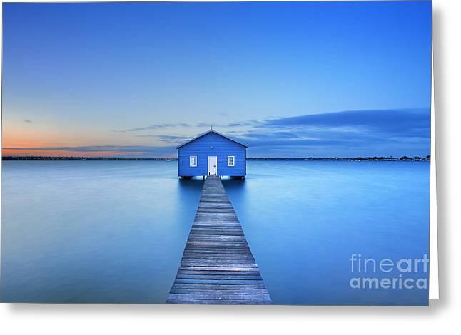 Sunrise Over The Matilda Bay Boathouse Greeting Card
