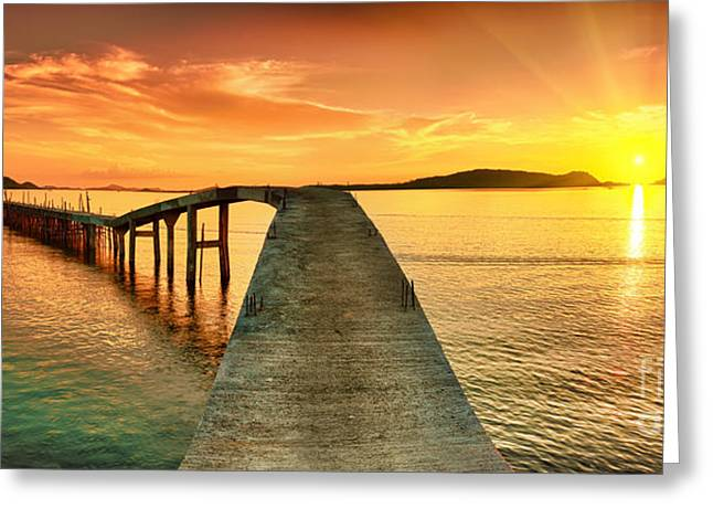 Sunrise Over The Sea. Pier On The Greeting Card