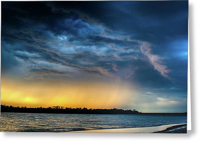 Greeting Card featuring the photograph Sunrise Storm Pano by Jeff Phillippi