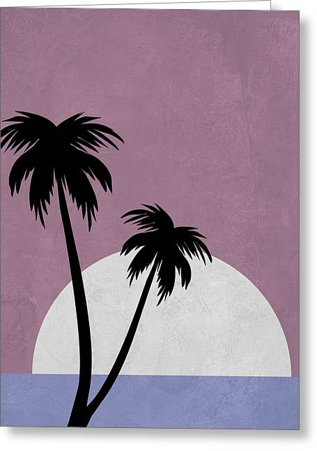 Sunset And Beach Palm Trees Greeting Card