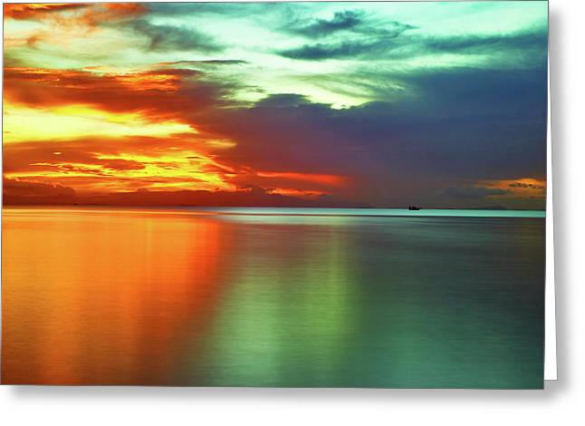 Sunset And Boat Greeting Card
