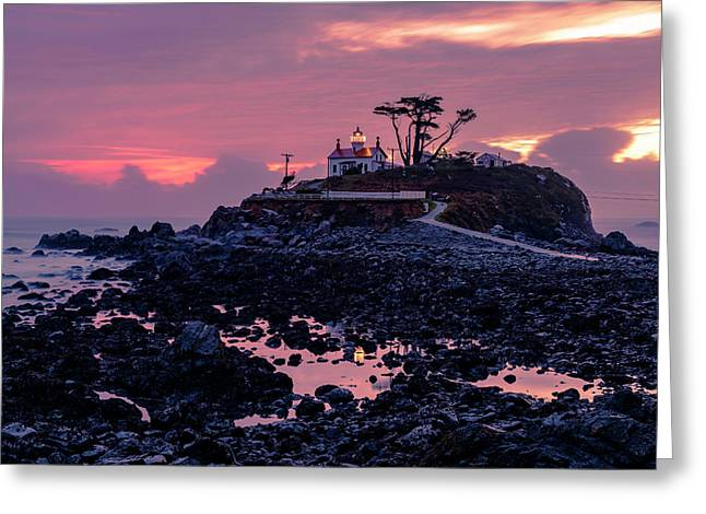Sunset And Low Tide At Battery Point Greeting Card