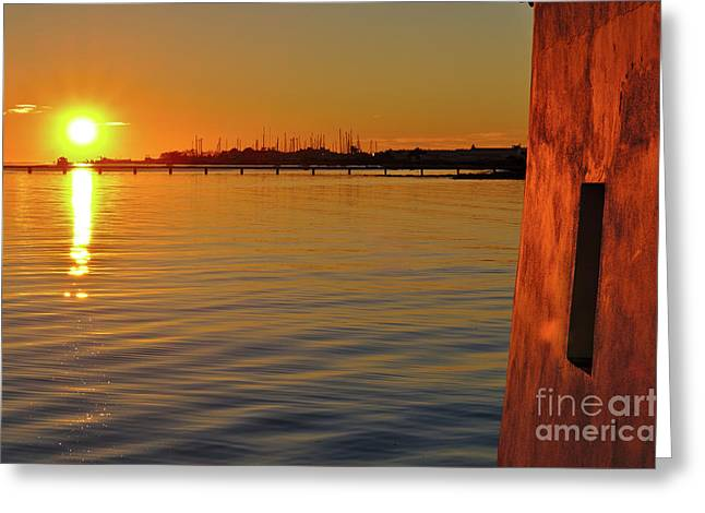 Sunset And Old Watermill Greeting Card