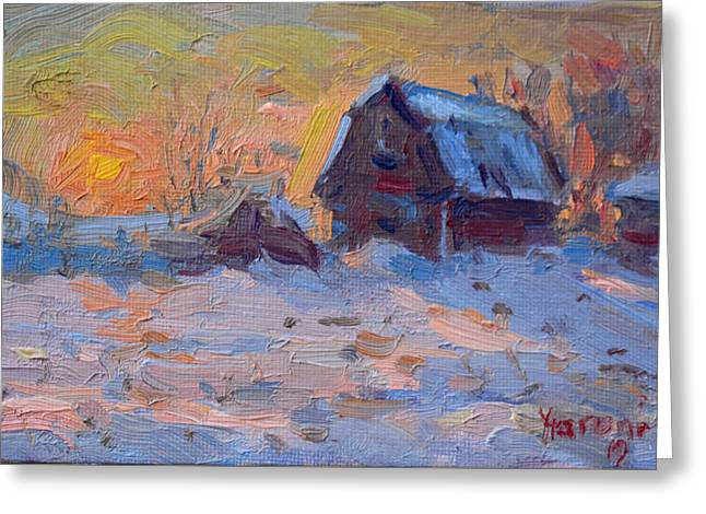 Sunset And Snow In The Farm  Greeting Card