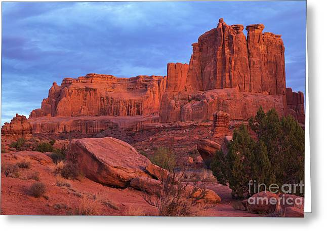 Greeting Card featuring the photograph Sunset At Arches by Sharon Seaward