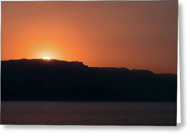 Sunset At Over The Mountains In The Red Sea Greeting Card