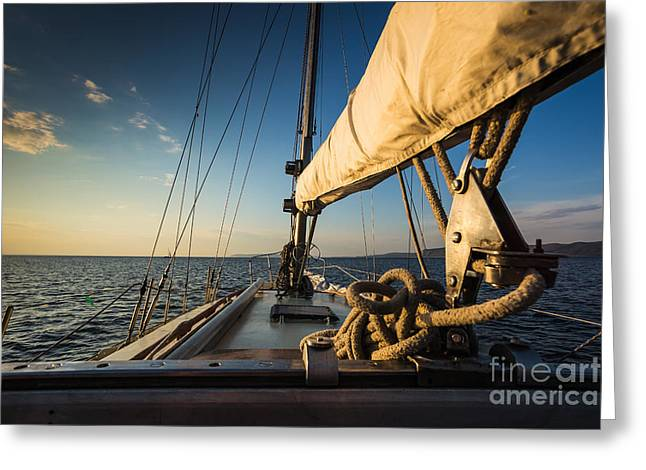 Sunset At Sea On Aboard The Yacht Greeting Card
