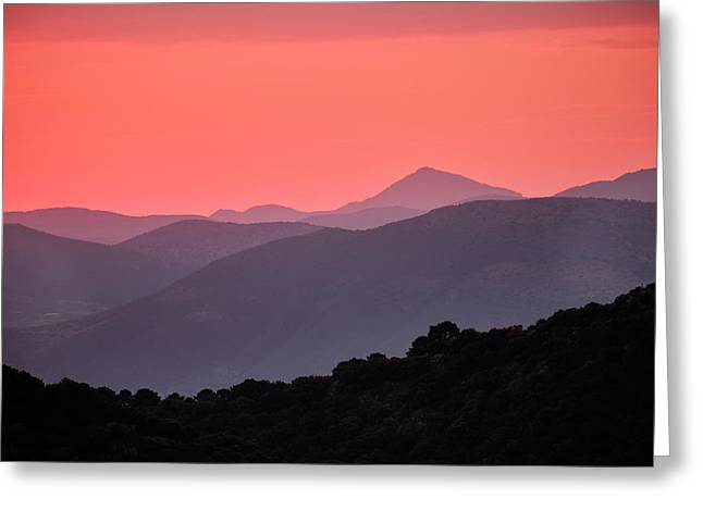 Sunset At The Misty Mountains. Sierra De Huetor. Spain Greeting Card