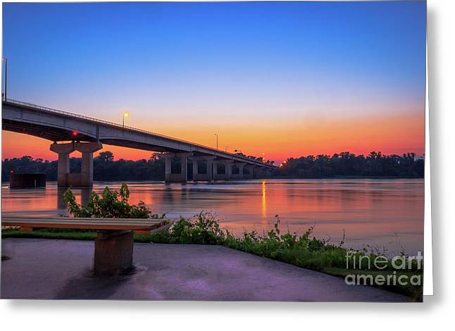 Sunset At The River Park Greeting Card
