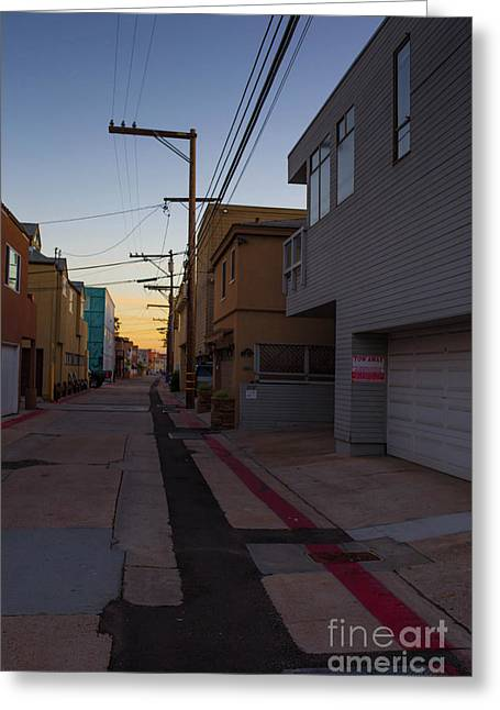 Sunset Back Alley Mission Beach San Diego California Greeting Card