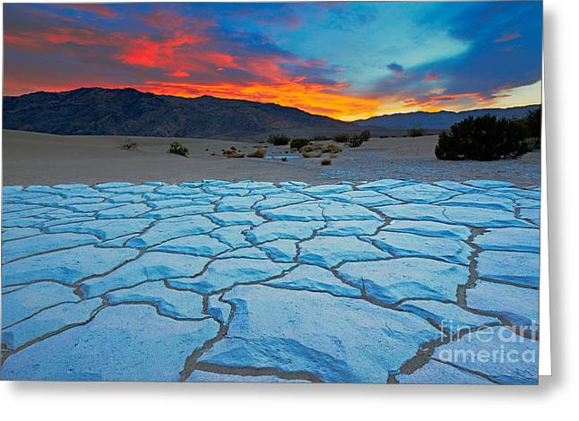 Sunset From Mesquite Flat Sand Dunes Greeting Card