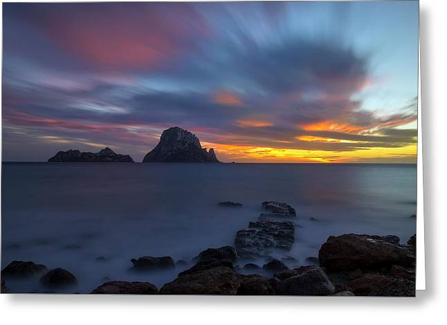 Sunset In The Mediterranean Sea With The Island Of Es Vedra Greeting Card