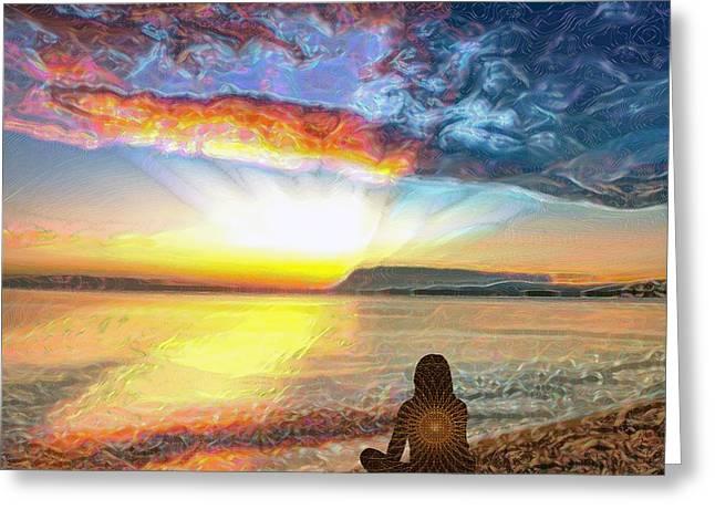 Sunset Meditation Greeting Card