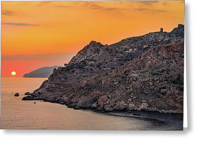 Greeting Card featuring the photograph Sunset Near Cape Tainaron by Milan Ljubisavljevic