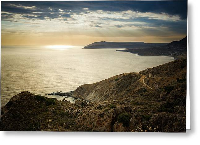 Greeting Card featuring the photograph Sunset Near Tainaron Cape by Milan Ljubisavljevic