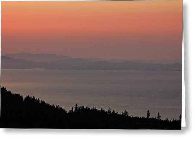 Sunset Of The Olympic Mountains Greeting Card