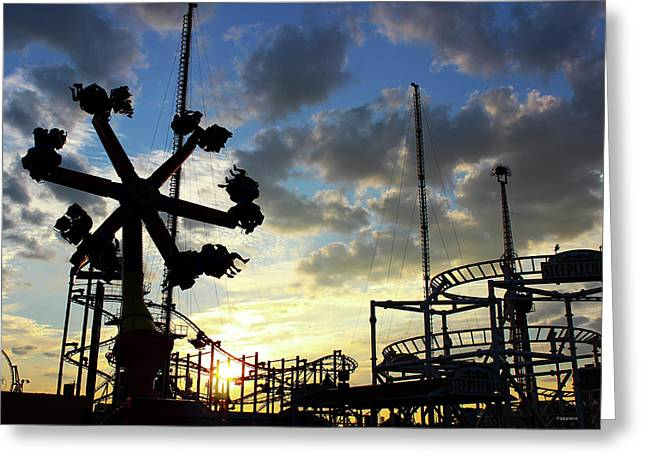 Sunset On Coney Island Greeting Card