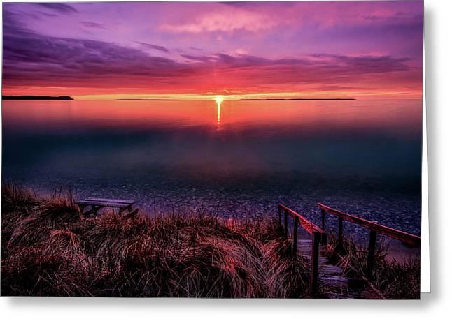 Sunset On Good Harbor Bay Greeting Card