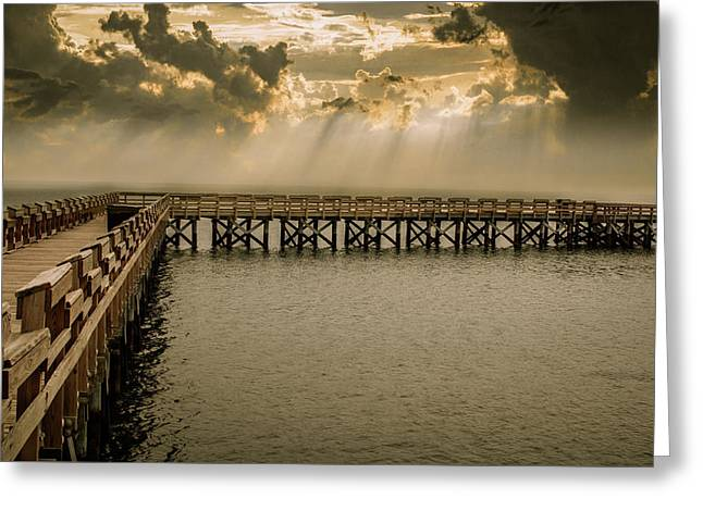Sunset On Pier Greeting Card