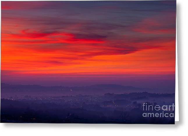 Sunset On The City Background Greeting Card