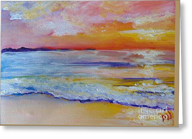 Greeting Card featuring the painting Sunset On The Gulf by Saundra Johnson