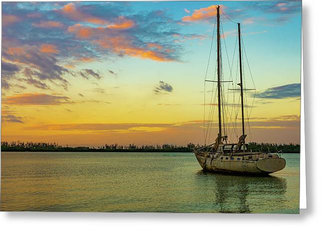Sunset On The Lagoon Greeting Card