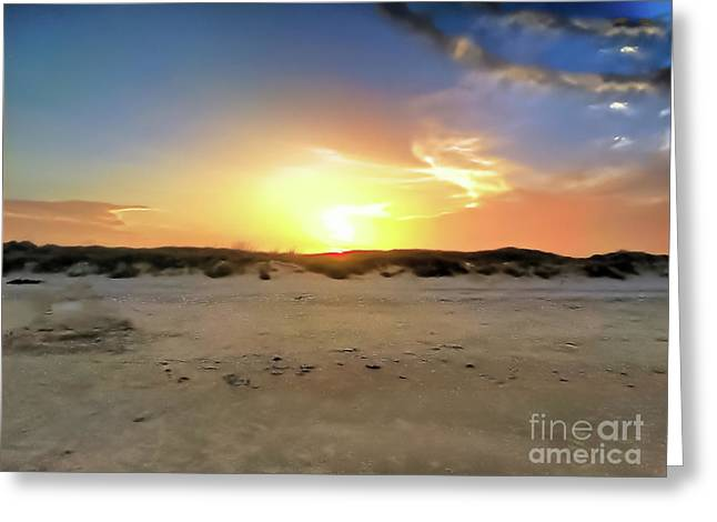 Sunset Over N Padre Island Beach Greeting Card