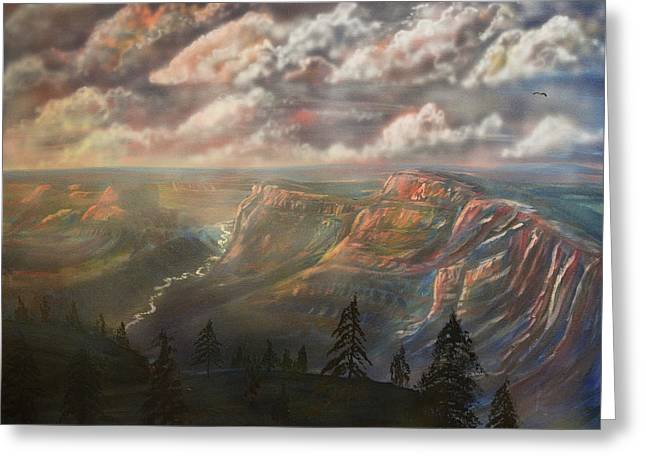 Sunset Over The Grand Canyon At Desert View Point Greeting Card
